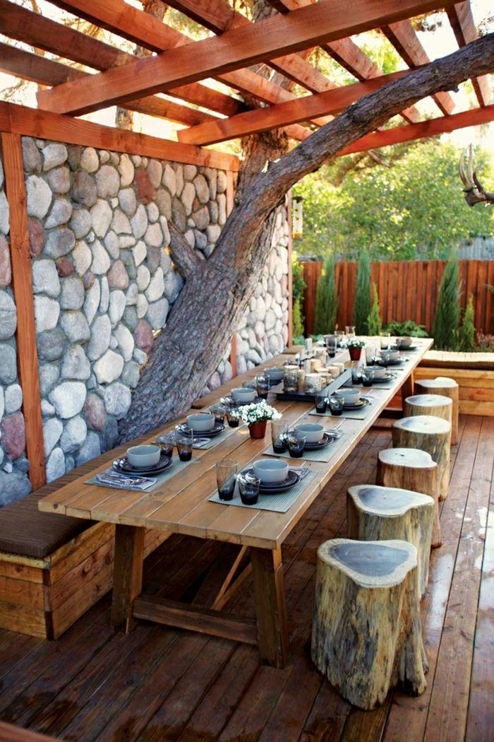 Gartentisch Rustikal Ideen Gartengestaltung Hölzmöbel Baumstümpfe Hocker