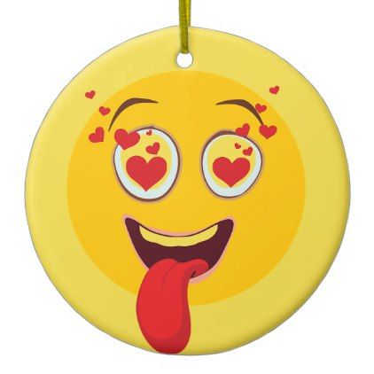 Kiss-heart emoji ceramic ornament - heart gifts love hearts special diy
