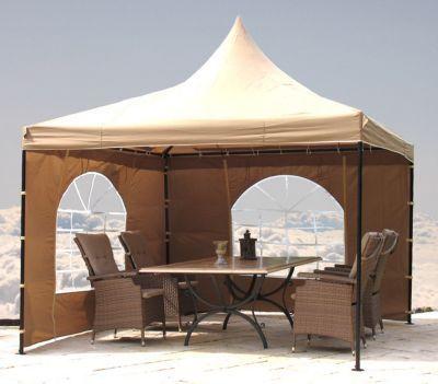 Lounge Pavillon Sahara 4x4m Sand - Mit diesem hochwertigen Pavillon bringen Sie Ambiente in Ihren Garten.