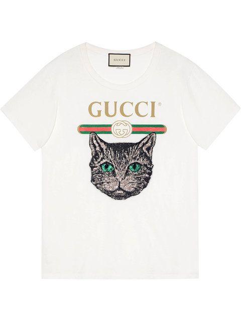 0e7e69c5f Gucci Gucci Logo T-shirt With Mystic Cat - Farfetch | sweatshirts in ...