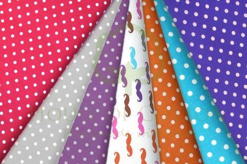 Moustache cotton fabric set with polka dots / Bawełna wąsy
