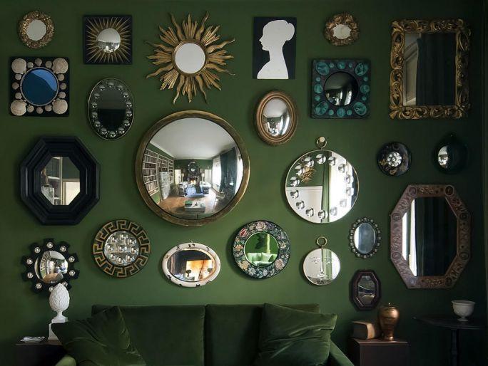 Una veduta della parete di specchi a Casa Fornasetti che ospiterà l'opera di Stefania Fersini - Courtesy Fornasetti