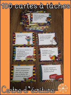 Cartes à tâches pour le centre d'écriture