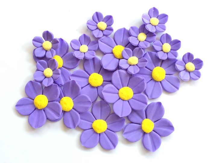 fondant flowers 36 lavender purple yellow edible fondant flowers cupcake cake pop toppers lily decorations wedding hawaiian tropical by InscribingLives (19.99 USD) http://ift.tt/1PrTR6i