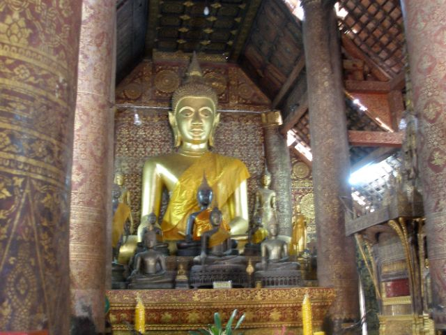 Buddha in Main Wihan at Wat Xieng Thong, Luang Prabang.