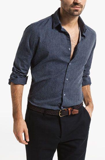 CAMICIA CHAMBRAY STAMPA FLOREALE SLIM FIT - Camicie stampate - Camicie casual - MEN - Italia