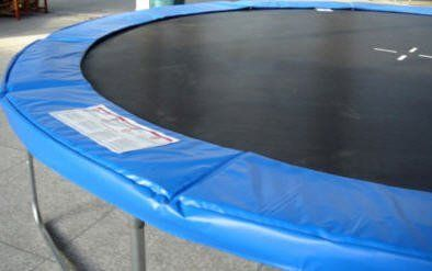 12' BLUE VINYL TRAMPOLINE FRAME PAD . $52.00. This trampoline frame pad is for use on a 12ft Trampoline with 5.5, 7 or 8.5 inch sized springs. This frame pad consists of a 16 oz coated vinly top material with a polyethylene bottom lining.  Determine the size of your trampoline by measuring the diameter of the trampoline frame. Take the measurement from the outside edge of one toprail to the outside edge of the exact opposite toprail. Be sure to take two measurements i...