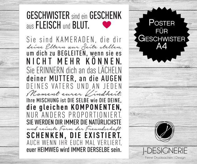 Ihr möchtet die Liebe zu Eurer Schwester oder Eurem Bruder einmal in gedruckten Worten verschenken? Dann haben wir das richtige Geschenk für Euch.  Dieses Poster ist ein individuelles und...