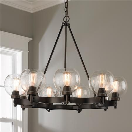 Rustic Seeded Globe Chandelier - 9 Light; $599 rustic but w/vintage round glass globes....