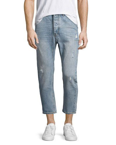 Mr. Brown Whiskered Distressed Jeans, Blue