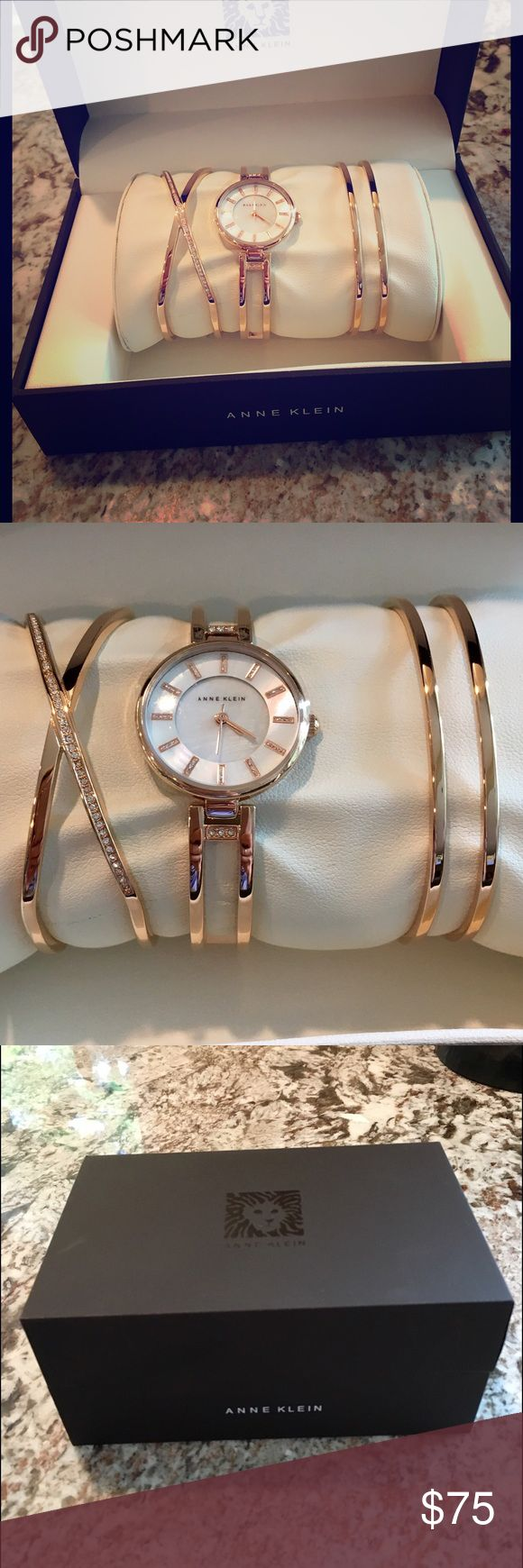 Anne Klein Crystal Rose Gold Watch Bracelet Set NIB Beautiful Rose-Gold Crystal Accent Stainless Steel Bangle Bracelet and Watch Set. Quartz movement, splash-resistant. Set includes Anne Klein watch & two additional Anne Klein bangle bracelets. Never worn. Anne Klein Jewelry Bracelets
