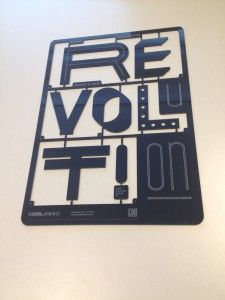 """Design by Yurr Rozenberg, laser engraving and cutting. """"Every generation needs a new revolution/REVOLT!"""""""