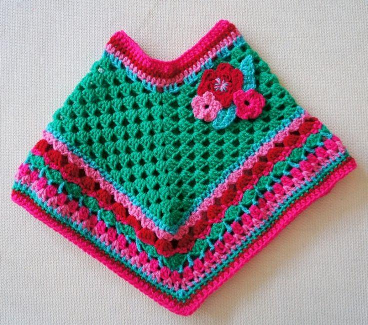 Groene poncho met bloemen maat M | Poncho's | Bellefien