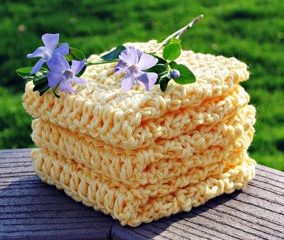 Cotton Wash Cloths Dish Cloths  Bright by HandmadeByAnnabelle