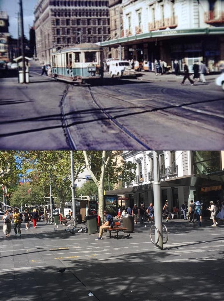Looking east along Alfred Street, Circular Quay from near Arbitration Street 1954 > 2017. Arbitration Street no longer exists. [Sydney City Archives > Phil Harvey. By Phil Harvey]