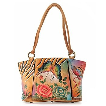 Anuschka Double Handle Hand Painted Leather Organizer Tote Bag