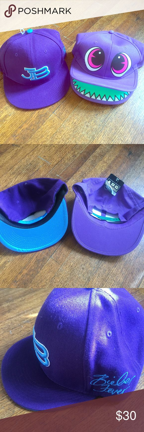 Justin Bieber hats and Christmas stocking. Justin Bieber Purple flat bill hat and monster purple hat. Also comes with Justin Bieber Christmas Stocking. Know a fan? Or! Looking for a perfect Halloween costume? Easy fix! Adjustable snap backs:) Accessories Hats