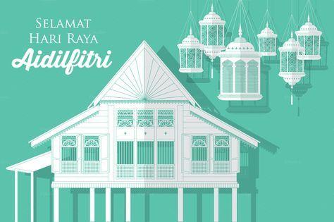 hari raya village/kampung vector - Illustrations - 1