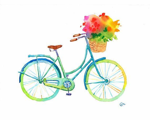 Acquerello del fiore Bike  bicicletta di di CMwatercolors su Etsy