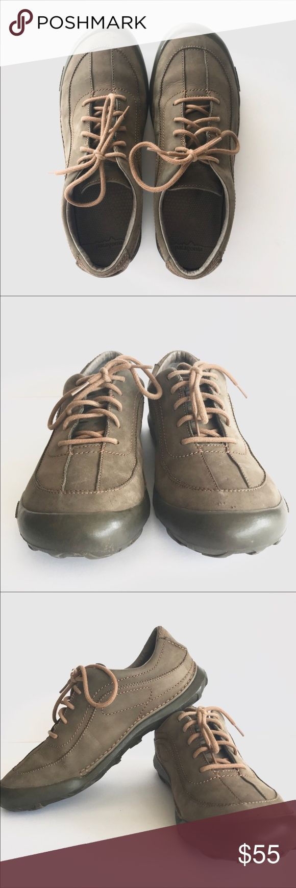 Patagonia Balsam Peak Brown Leather Hiking Shoes Men's Patagonia Balsam Peak Brown Leather Hiking Shoes, Size 9 1/2, brown leather, water resistant oxford style hiking shoe, EUC, has minor wear in front toe as shown in pics, soles are in great shape! These are ready for a new adventure!! SMOKE FREE home. Patagonia Shoes Sneakers