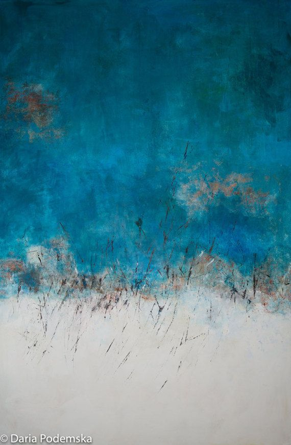 Blue Impression  Large 40x60 abstract by ArtStudioDByDaria on Etsy