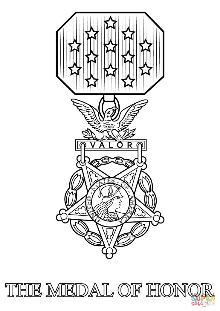 medal of honor coloring page from army symbols category