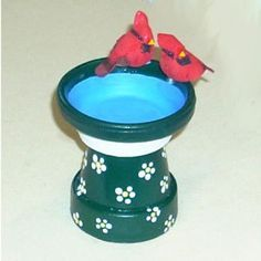 DIY Mini Clay Pot Bird Bath-- Three Cheers for Animals journey