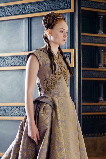 Princess Sansa Stark, filming on the Game of Thrones set, in her beautiful lavender and gold brocade wedding gown - this is for her wedding with Tyrion Lannister.