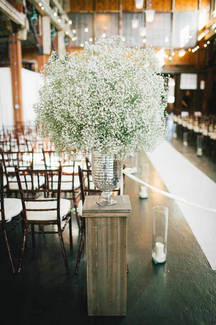 #rustic, #aisle-decor, #babys-breath Photography: Alyssa Wilcox Photography - alyssawilcoxphotography.com/ Read More: http://www.stylemepretty.com/washington-weddings/seattle/2013/12/09/seattle-wa-wedding-at-the-historic-sodo-park/