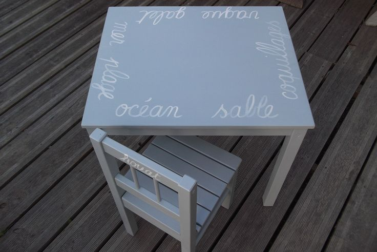 ensemble table d 39 enfant et chaise en bois patine bleu gris style bord de mer deco style and bebe. Black Bedroom Furniture Sets. Home Design Ideas