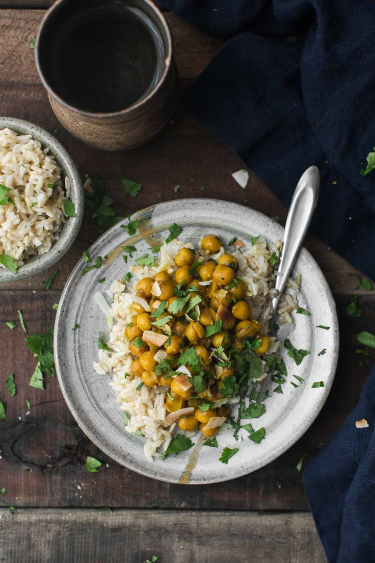This hearty pantry meal features turmeric chickpeas paired with garlic and ginger, best served with a grain like brown rice or quinoa.