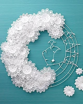 A delicate looking wreath that creates the magical effect of candles flickering in the snow.
