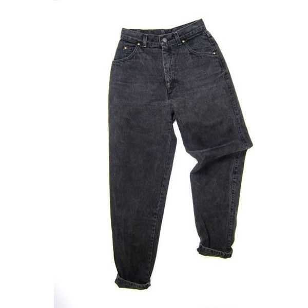 LEVIS 80s High Waist Jeans BLACK Denim Jeans Tapered Mom Jeans 1980s... (4.150 RUB) ❤ liked on Polyvore featuring bottoms and jeans