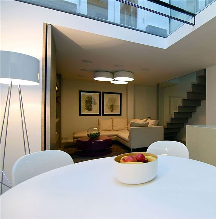 Contemporary Interior Design Concept for A Small Residence: Amazing Dining Room Design Of Knightsbridge House With White Chairs White Stand ...