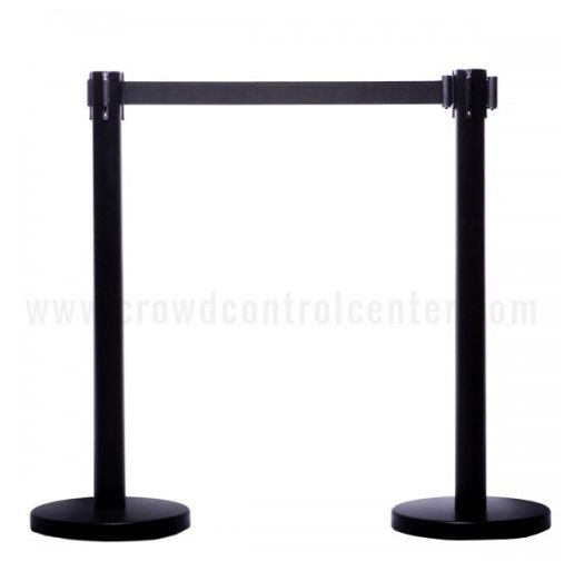 Buy VIP Version in Black Powder Coated Steel Retractable Belt Stanchions and Crowd Control Retractable Safety Barriers System at good rate from CrowdControlCenter.