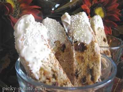 White Chocolate Dipped Cinnamon and Banana Bread Biscotti - Picky ...