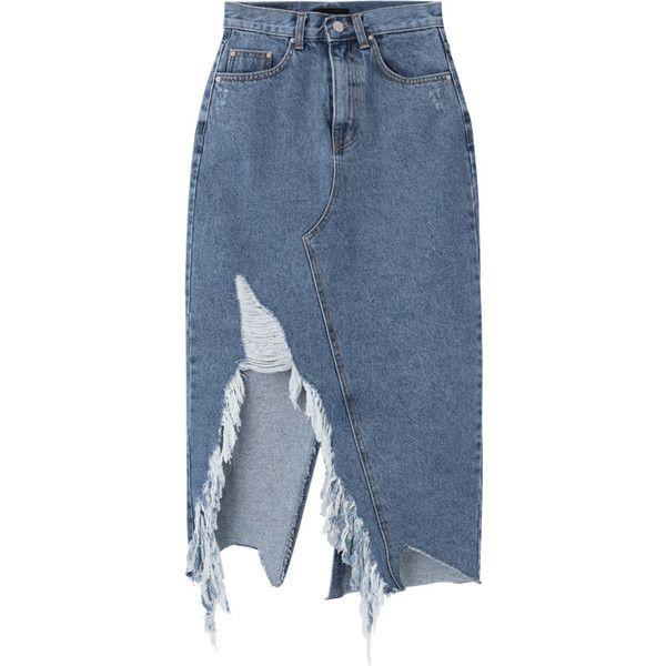 Damaged Slit Midaxi Denim Skirt ($5.50) ❤ liked on Polyvore featuring skirts, bottoms, button skirt, blue skirt, blue denim skirt, distressed skirt and pocket skirt