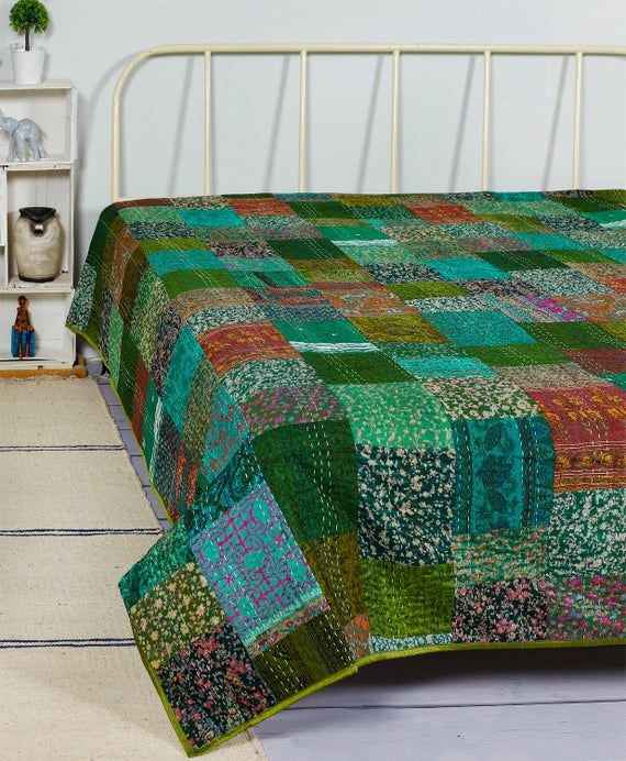 Bedding Throw kantha Home Decor Rally Boho Quilt Patchwork Gudari King Size Vintage Hand Block Print Kantha Quilt Rally Bedspread