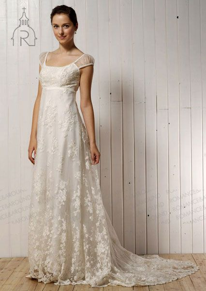 Fabulous Square A line Empire Lace Floor Length With Lace Short Sleeve Sweep Brush Train Bridal Gown at Angelweddingdress