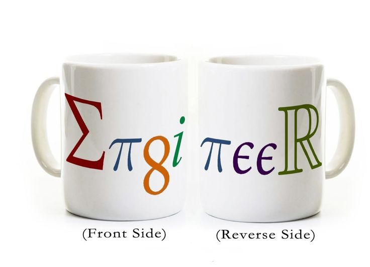 Engineer Coffee Mug -Engineer spelled with mathematical symbols/constants -Gift for Engineering Student Graduate. This listing is for ONE MUG. The design wraps around the mug - the two photos roughly depict each side of the mug. All mugs are 11 ounces and have a glossy finish. The text and image on each mug is very sharp - we do not allow poor quality mugs to leave the shop. The mugs are dishwasher and microwave safe because of the dye sublimation process that we use. This process…