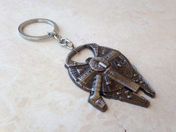 Star Wars Han Solo s Millennium Falcon ship barkey bottle opener Keychain 12bc63662b