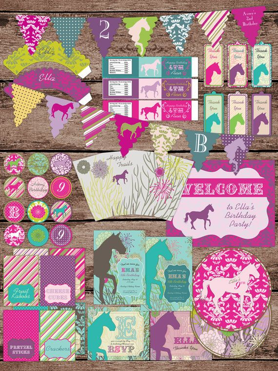 Large Equestrian Horse Birthday Large Party Pack Set Package - Digital Printable on Etsy, $40.00