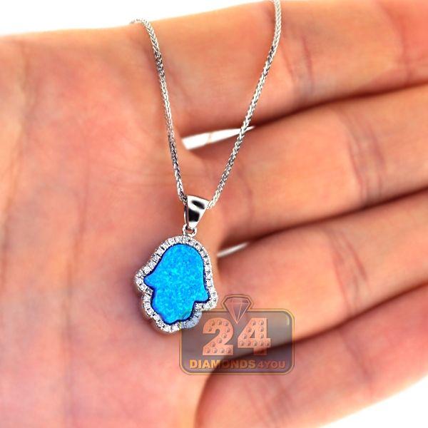 Hamsa Hand Necklace Blue