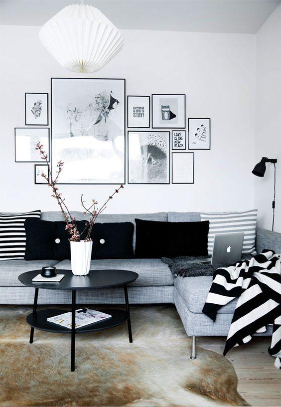 Decoração de salas em preto e branco