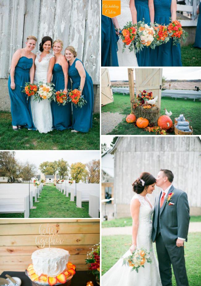 Teal Orange Crimson Rustic Fall Wedding At Legacy Hill Farm