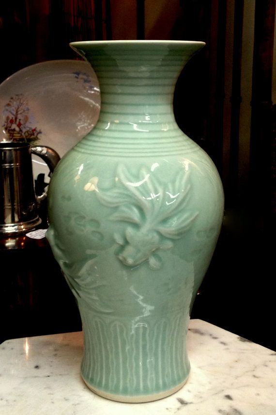 Koi fish celadon vase chinese porcelain 12 1 4 high for Koi fish vase