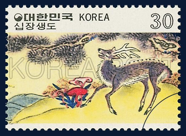 Postage Stamps of Folk Painting, Series(Ⅴ), ten longevity symbols painting,  Traditional Art, rainbow, 1980 11 10, 민화 시리즈(제5집) 1980년 11월 10일, 1195, 십장생도, Postage 우표