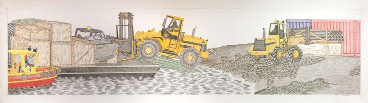 Tim Pitsiulak - Sea Lift 22 x 77 Coloured pencil on paper (G80201)