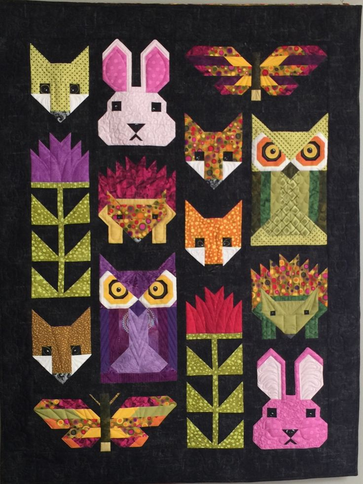 "My interpretation of Elizabeth Hartman's ""Fancy Forest"" quilt pattern. June 2016"