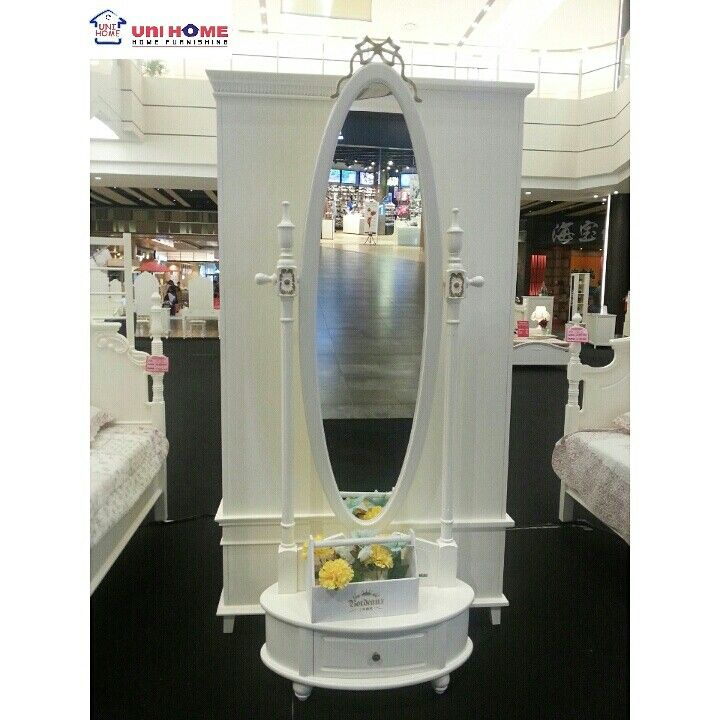 Mirror Queen (QS01). 75W X 45D X 210H. Mahogany wood. Ready Stock. available at #unihomefurniture at a promo price!
